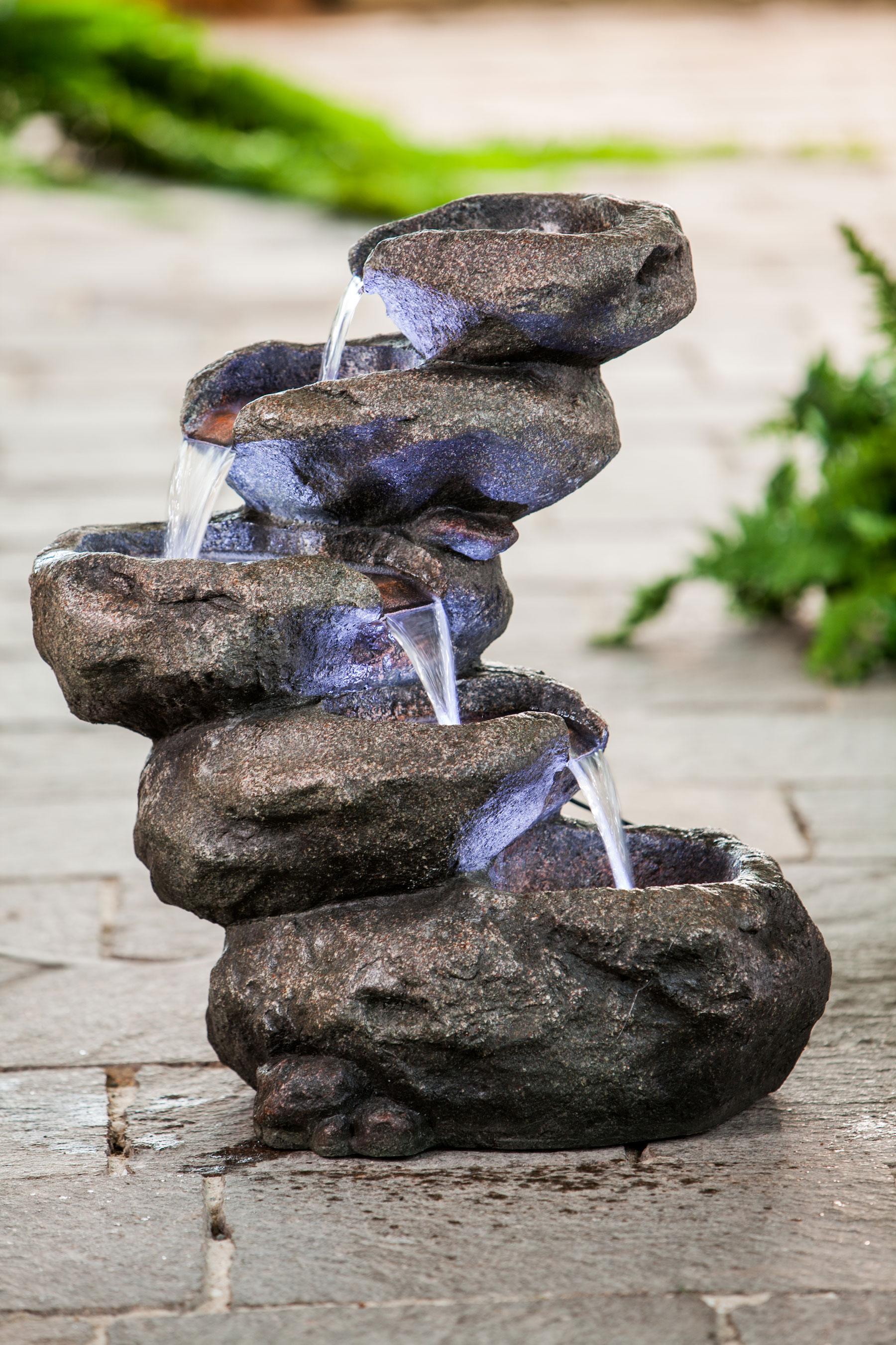 heissner gartenbrunnen terrassenbrunnen rock fountain 4x. Black Bedroom Furniture Sets. Home Design Ideas