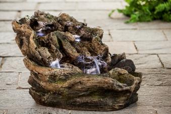 Heissner Gartenbrunnen / Terrassenbrunnen Wood Fountain 4x LED Bild 1
