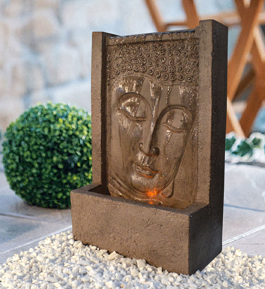 Heissner Terrassenbrunnen / Gartenbrunnen Buddha LED 23x12x38cm Bild 1