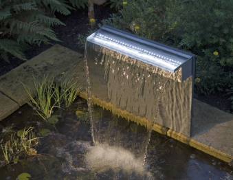 Ubbink Design Wasserfall Element Niagara LED 30cm Edelstahl Bild 2