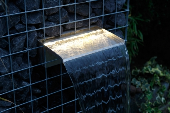 Ubbink Design Wasserfall Element Niagara LED Wall 30cm Edelstahl Bild 1