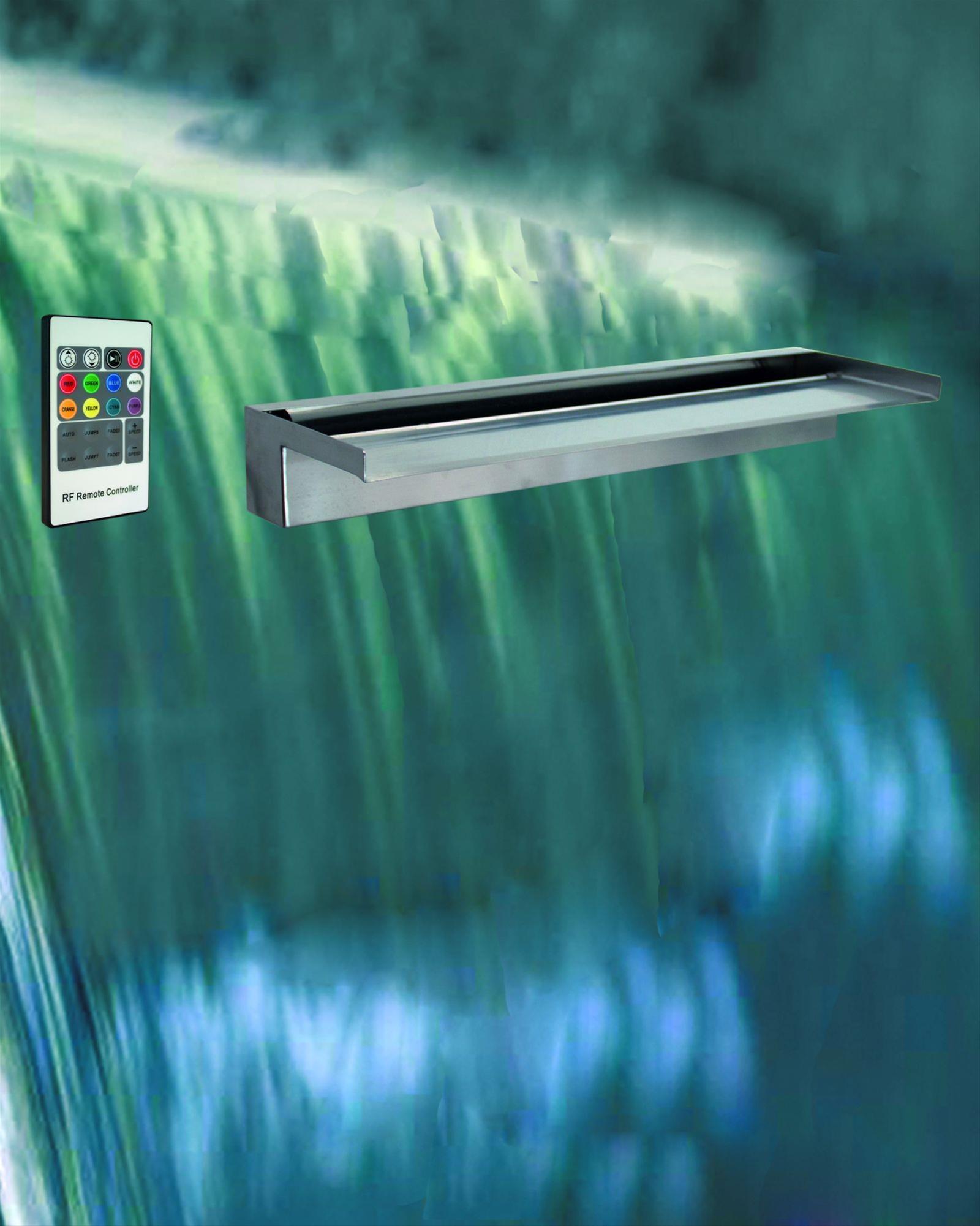 Wasserfall-Element GardenForma Wall Edelstahl LED RGB 90x19x8,5cm Bild 3