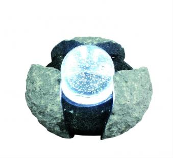 Wasserspiel GardenForma Brandur Granit mit drehender Glaskugel Bild 1