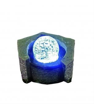 Wasserspiel GardenForma Lundey Granit mit drehender Glaskugel Bild 1