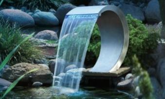 Wasserspiel wasserfall ubbink mamba led edelstahl bei for Wasserfall mamba