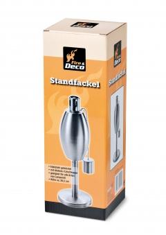 Öl-Lampe / Öl-Standfackel Oval Boomex Deco Edelstahl gebürstet 26,5cm Bild 2