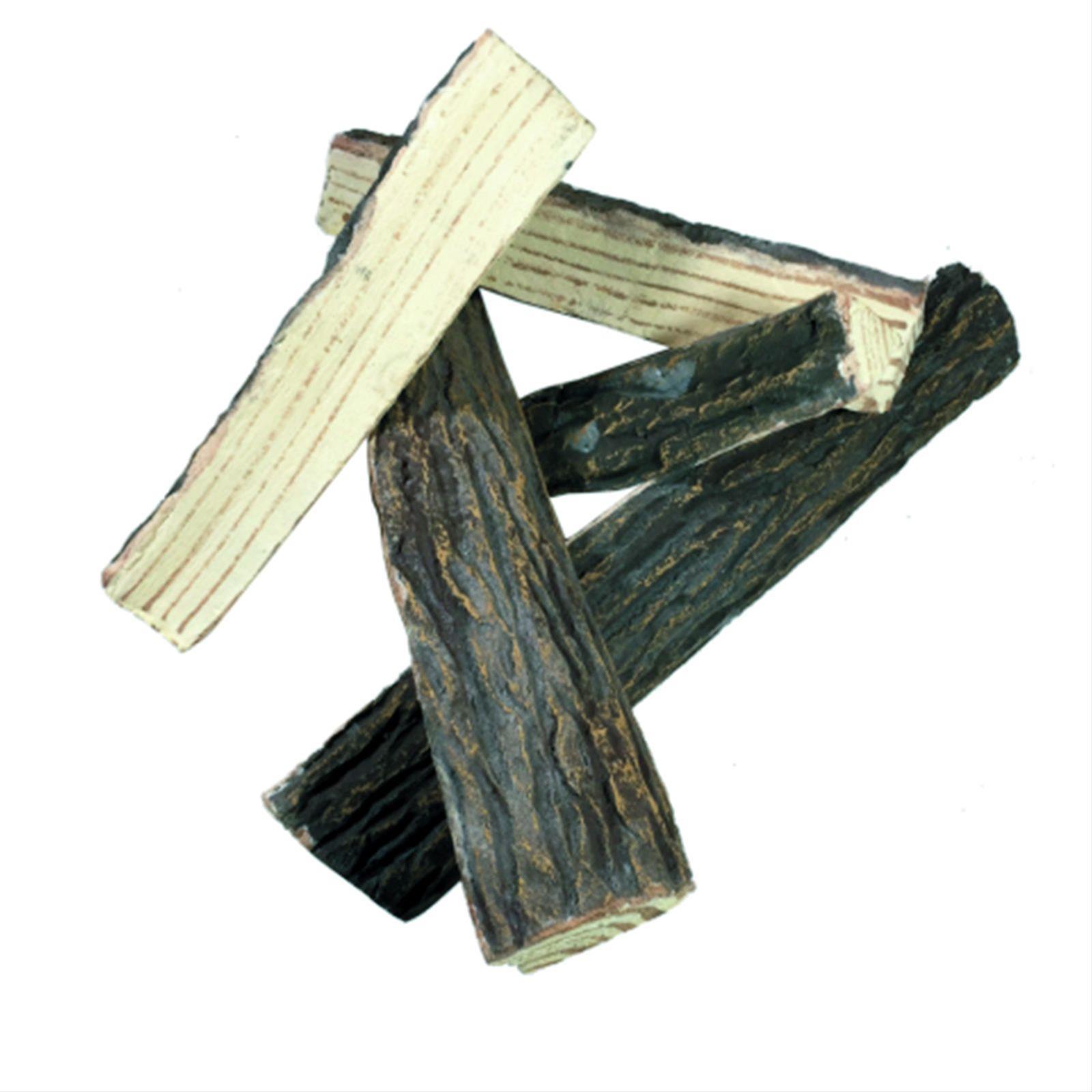GardenForma Keramik Holzscheite für Gas-Feuerstelle Spaltholz Optik Bild 1