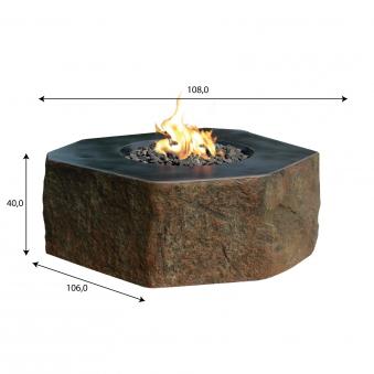 Gas Feuerstelle / Gartenfeuer GardenForma Dukono Beton Basaltoptik Bild 5
