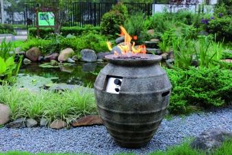 Gas Feuerstelle / Gartenfeuer GardenForma Katla Beton Keramik Antik Bild 2