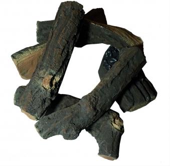 GardenForma Keramik Holzscheite für Gas-Feuerstelle Fallholz Optik