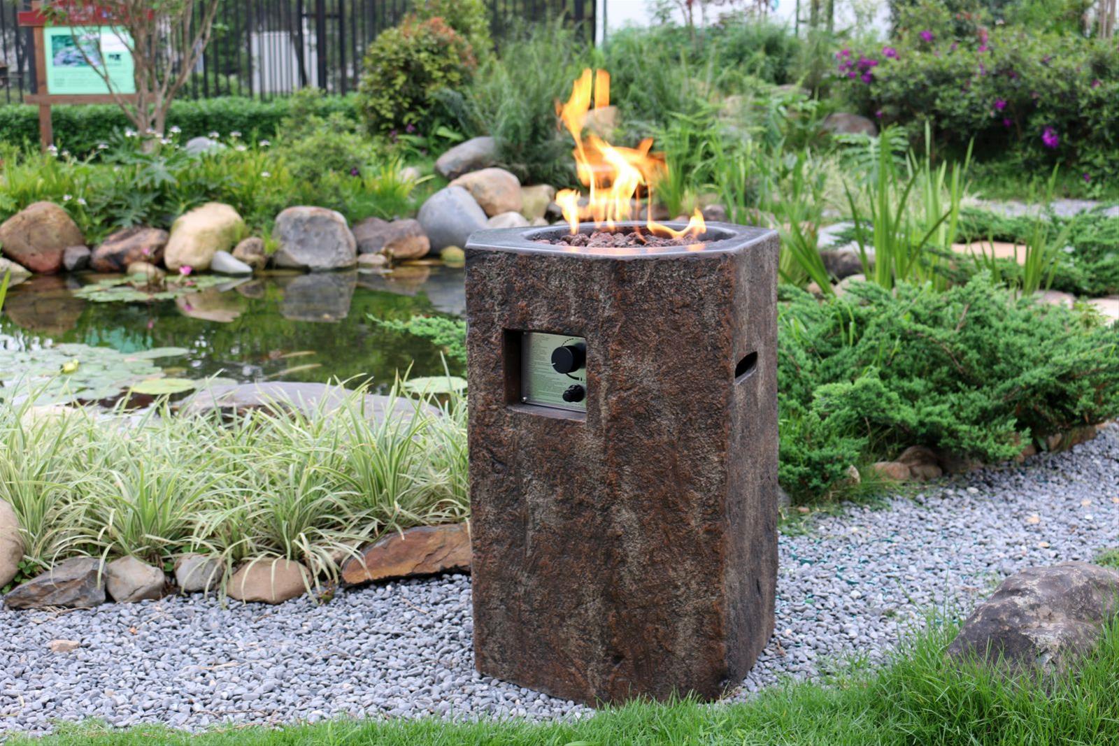 Gas Feuerstelle / Gartenfeuer GardenForma Tambora Beton Basaltoptik Bild 2