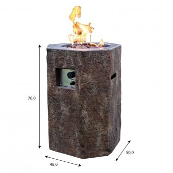 Gas Feuerstelle / Gartenfeuer GardenForma Tambora Beton Basaltoptik Bild 5