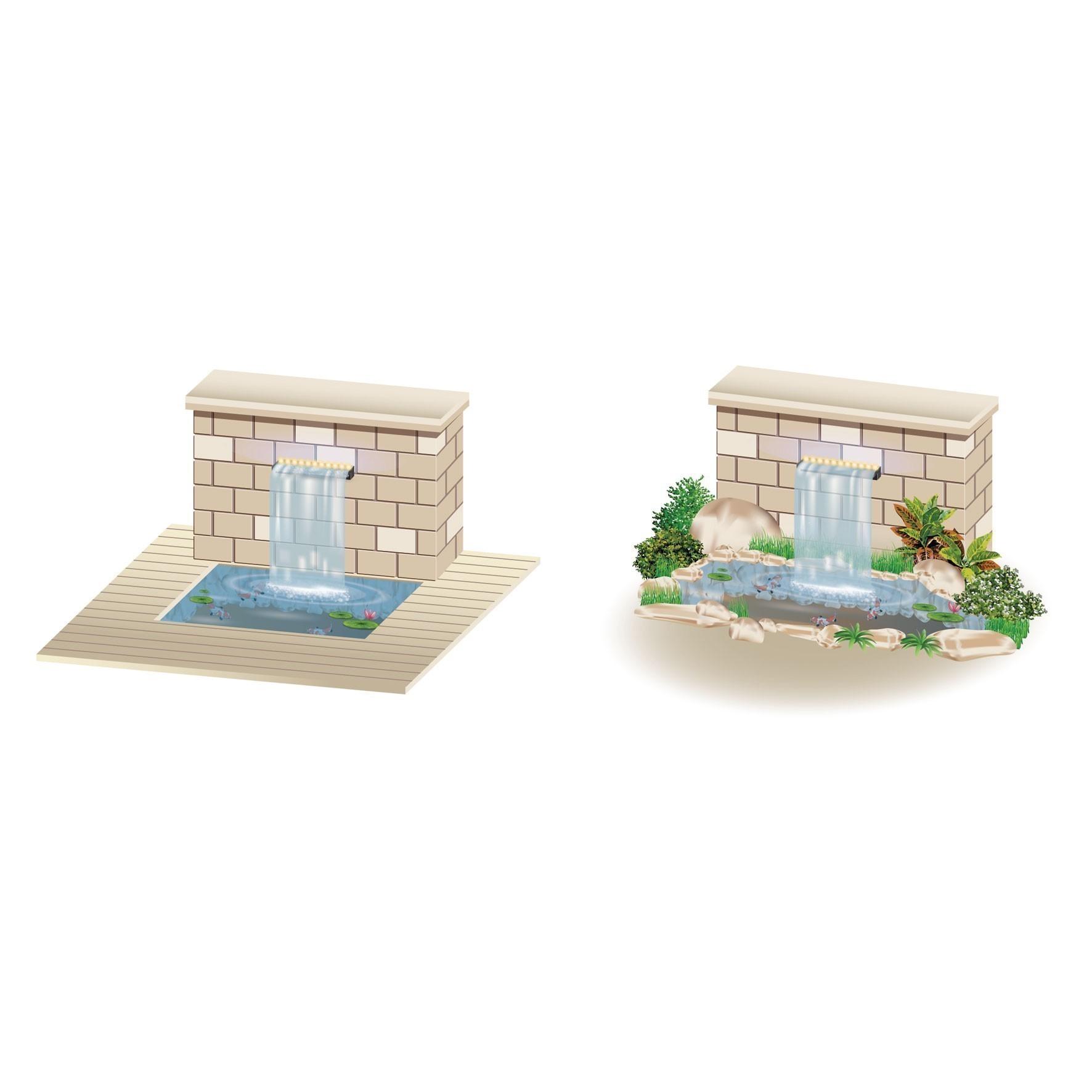 Heissner berlaufkante mit led wasserfall element for Gartenteich shops