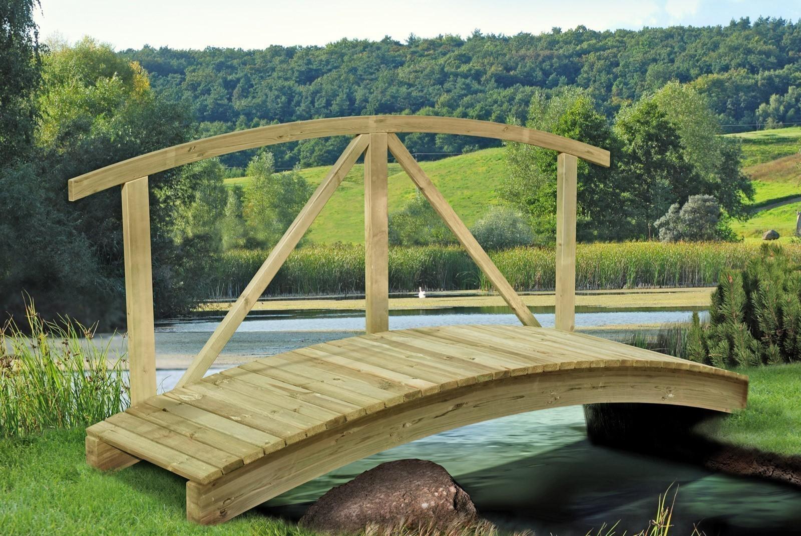 Teichbrücke Kiefernholz 80 x 250 cm Bild 1