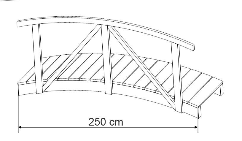 Teichbrücke Kiefernholz 80 x 250 cm Bild 2
