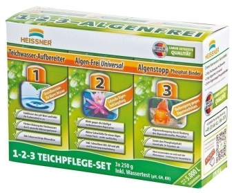 Teichpflege Set 3in1 mit Test Heissner 3x250ml