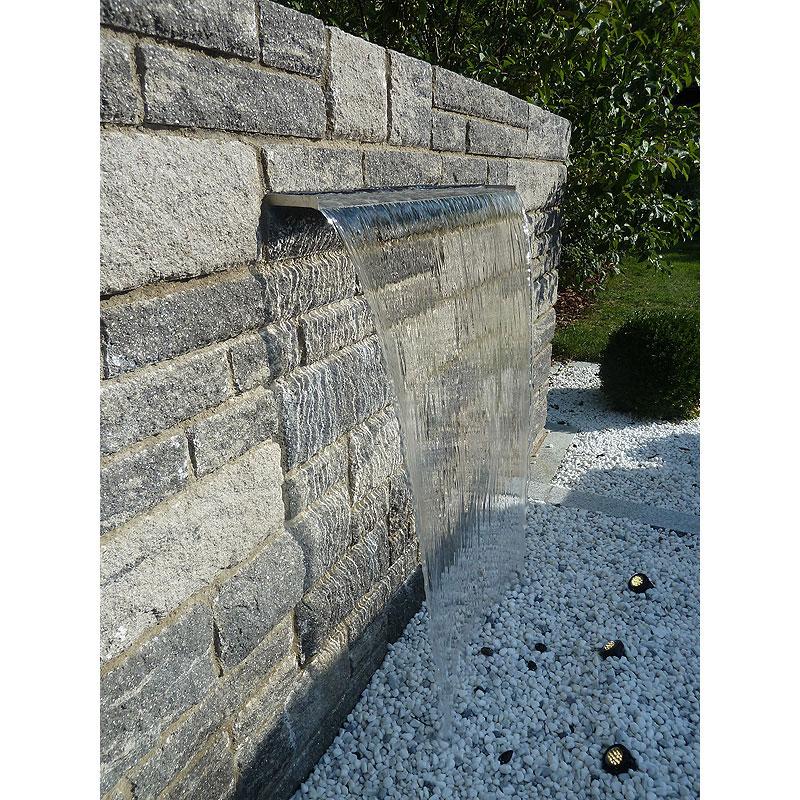 Heissner berlaufkante mit led wasserfall element for Gartenteich edelstahl