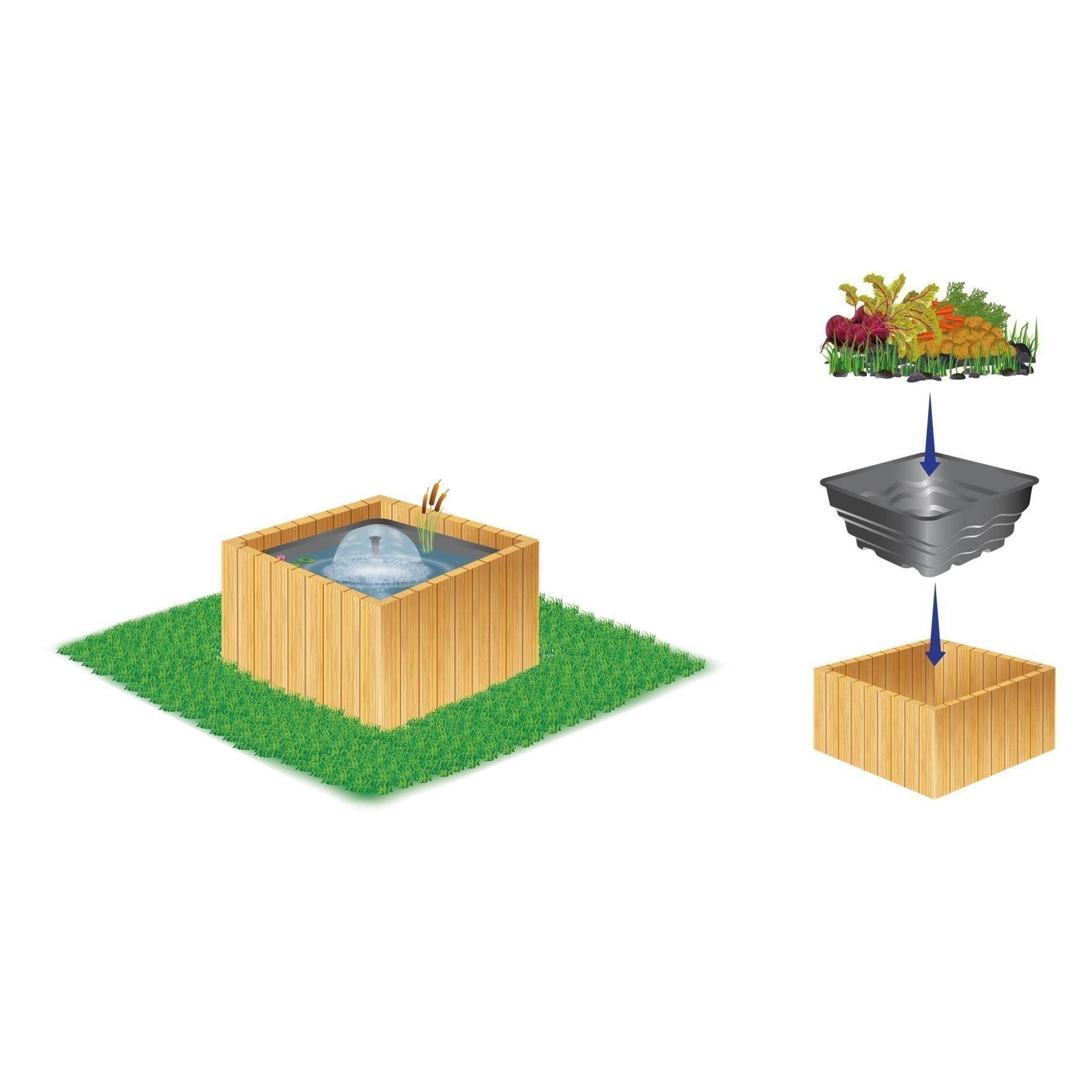 teichbecken terrassenteich heissner wassergarten 79x79x45cm 200liter bei. Black Bedroom Furniture Sets. Home Design Ideas