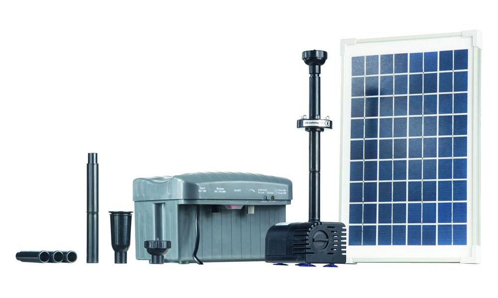 teichpumpe heissner solar teichpumpen set 750l h mit led. Black Bedroom Furniture Sets. Home Design Ideas