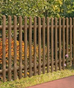 Gartenzaun / Holz Zaun Senkrechtzaun 55 kdi braun 250x100cm Bild 1