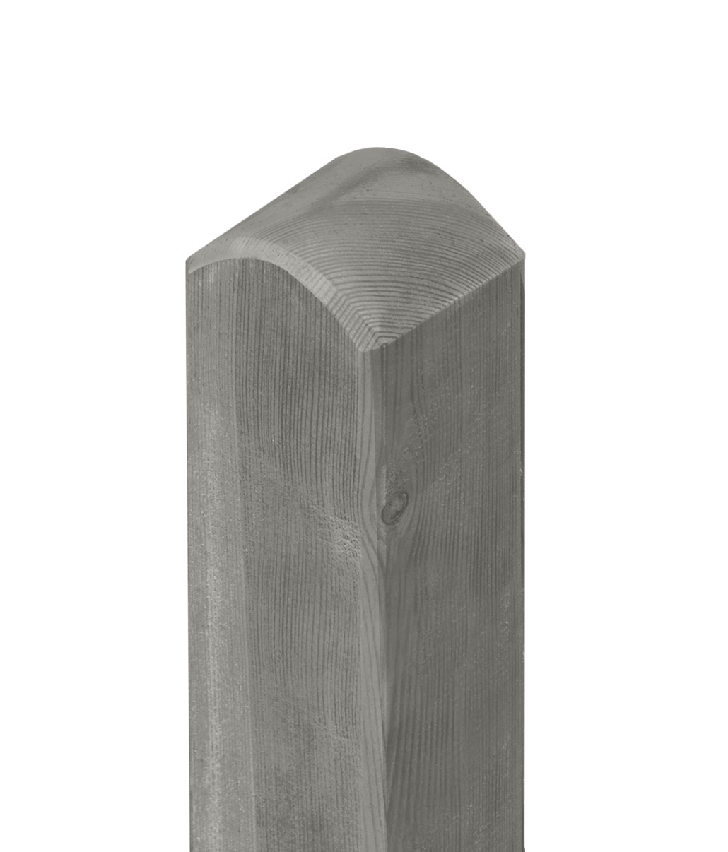 Zaunpfosten / Holzpfosten Rundkopf KDI grau 9x9cm Länge 190cm Bild 1