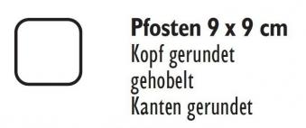 Zaunpfosten / Holzpfosten Rundkopf KDI grau 9x9cm Länge 190cm Bild 2