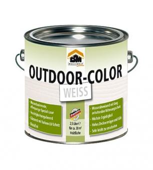 BM Massivholz Holzschutzlasur Outdoor-Color Farbe weiß 2,5Liter
