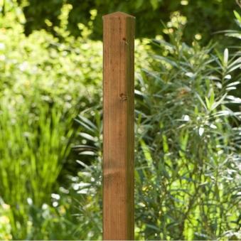 Zaunpfosten / Vierkantpfosten Noor 7x7cm Kiefer gebeizt 130cm Bild 1