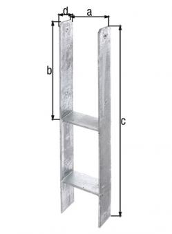 GAH Alberts H-Anker / Betonanker für Pfosten 11x11cm Bild 1