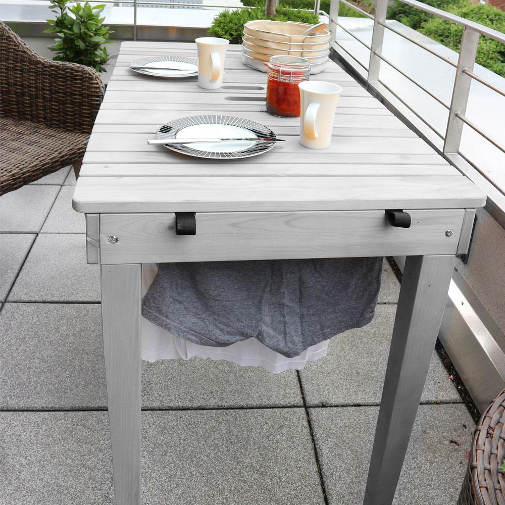 Habau gartentisch balkontisch mit w scheleine holz grau - Gartentisch holz grau ...