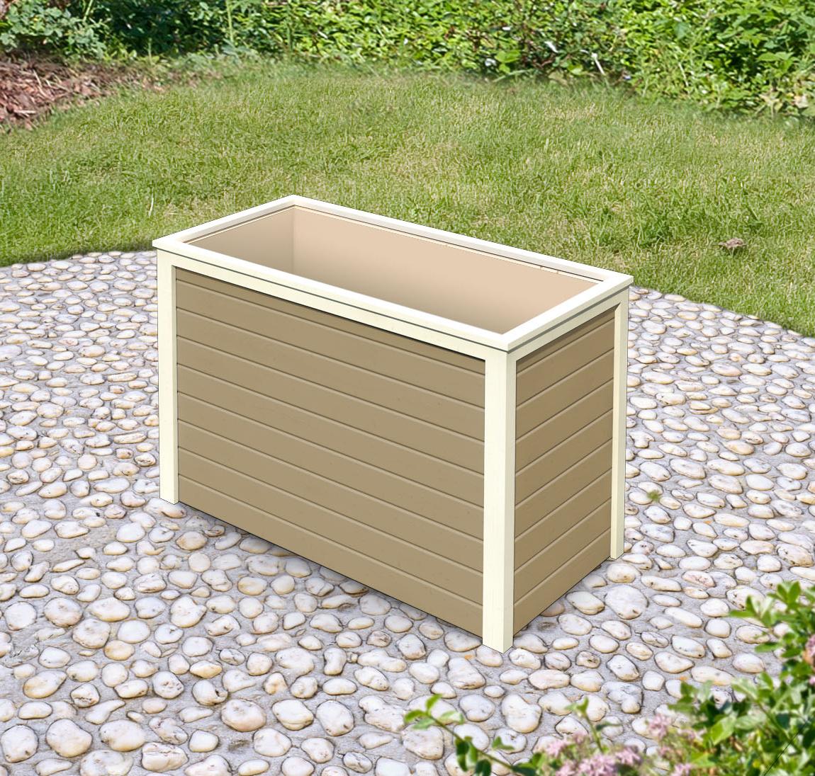Hochbeet 19 mm Karibu 1 sandbeige 133x69x82cm Bild 1