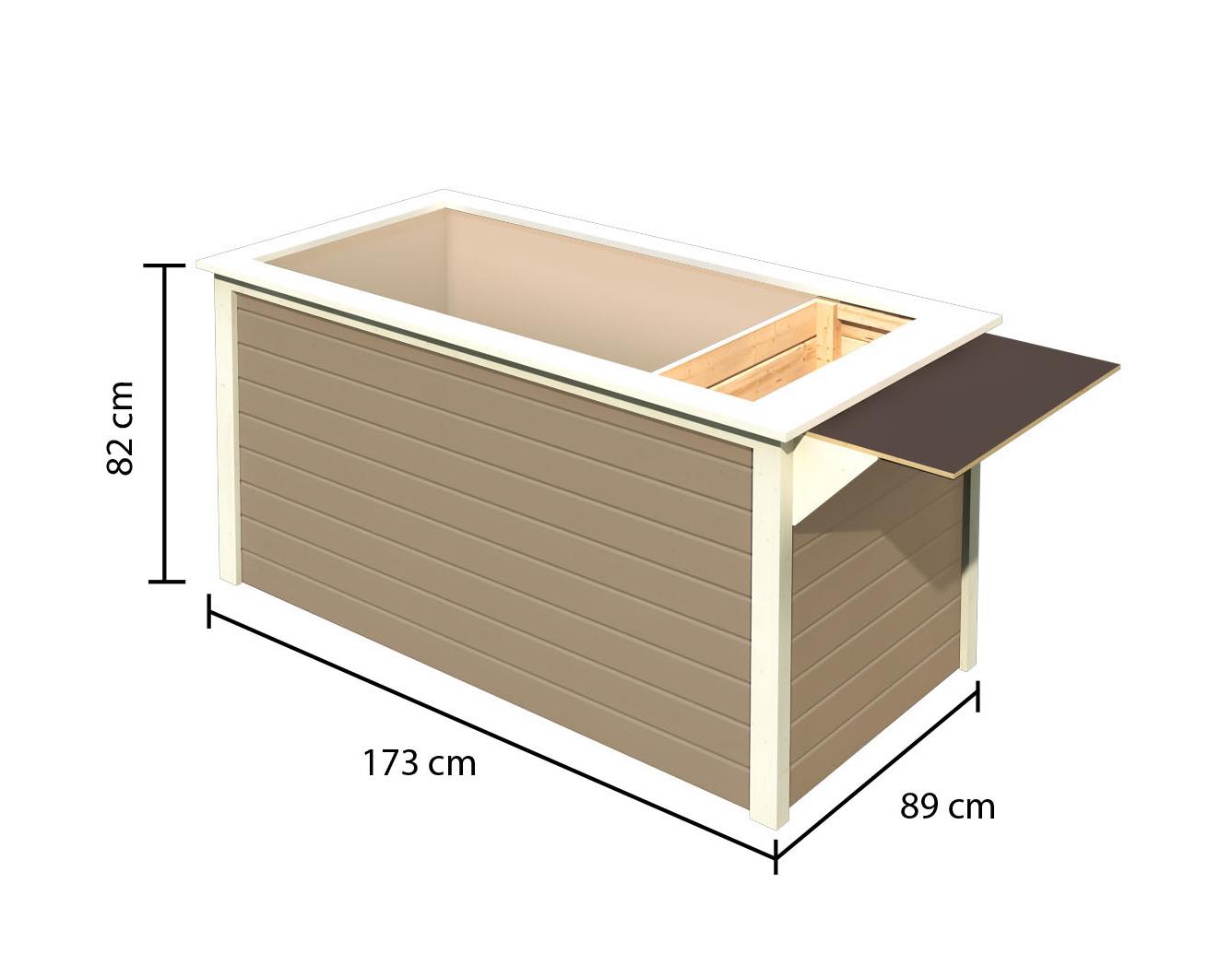 Hochbeet 19 mm Karibu 2 mit Schrankoption sandbeige 173x89x82cm Bild 3