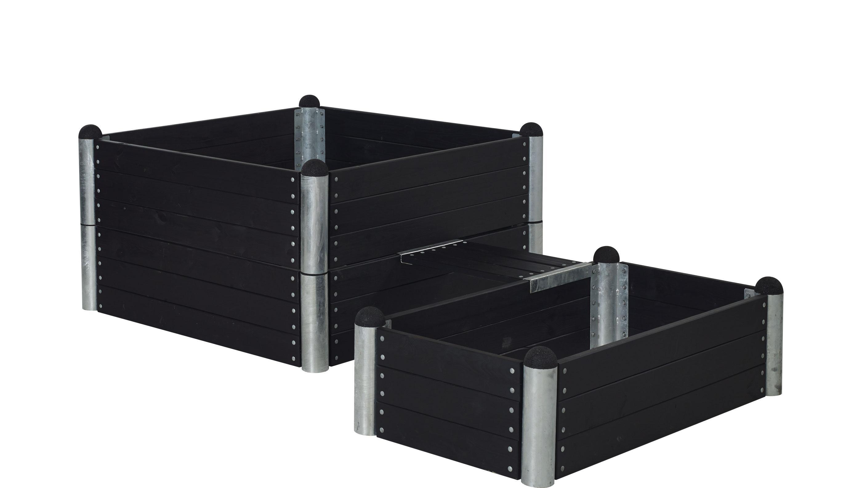 Hochbeet Kombination PIPE14a Plus mit Bank 140x140/80x140cm schwarz Bild 1