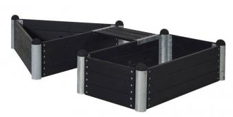 Hochbeet Kombination PIPE23a Plus m. Bank 140x140x140/80x140cm schwarz Bild 1
