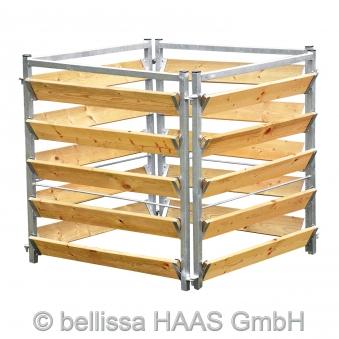 Komposter Holz Metall feuerverzinkt bellissa 100x100x100cm Bild 1
