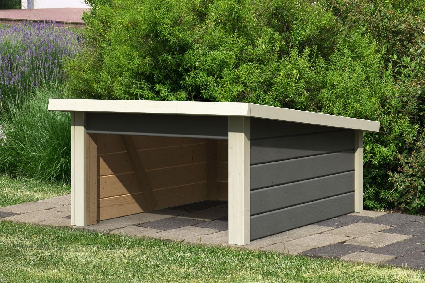 WoodFeeling Mähroboter Haus / Garage Pultdach 2 terragrau 79x96x57cm Bild 1