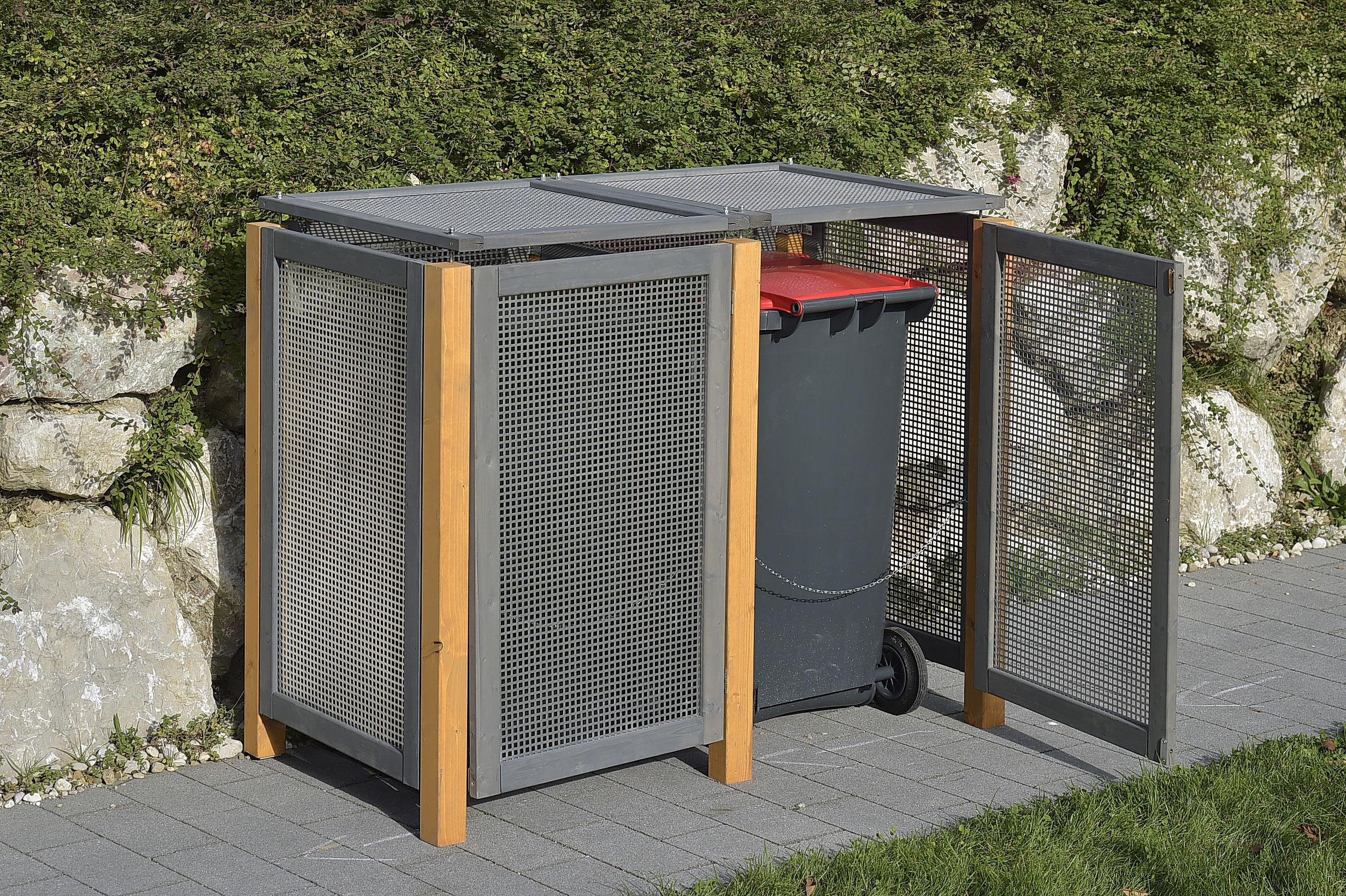 alu holz m lltonnenbox kirchdorf f r 2 x m lltonnen 240. Black Bedroom Furniture Sets. Home Design Ideas