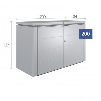 Biohort Geräteschrank HighBoard 200 silber 200x84x127cm Bild 2