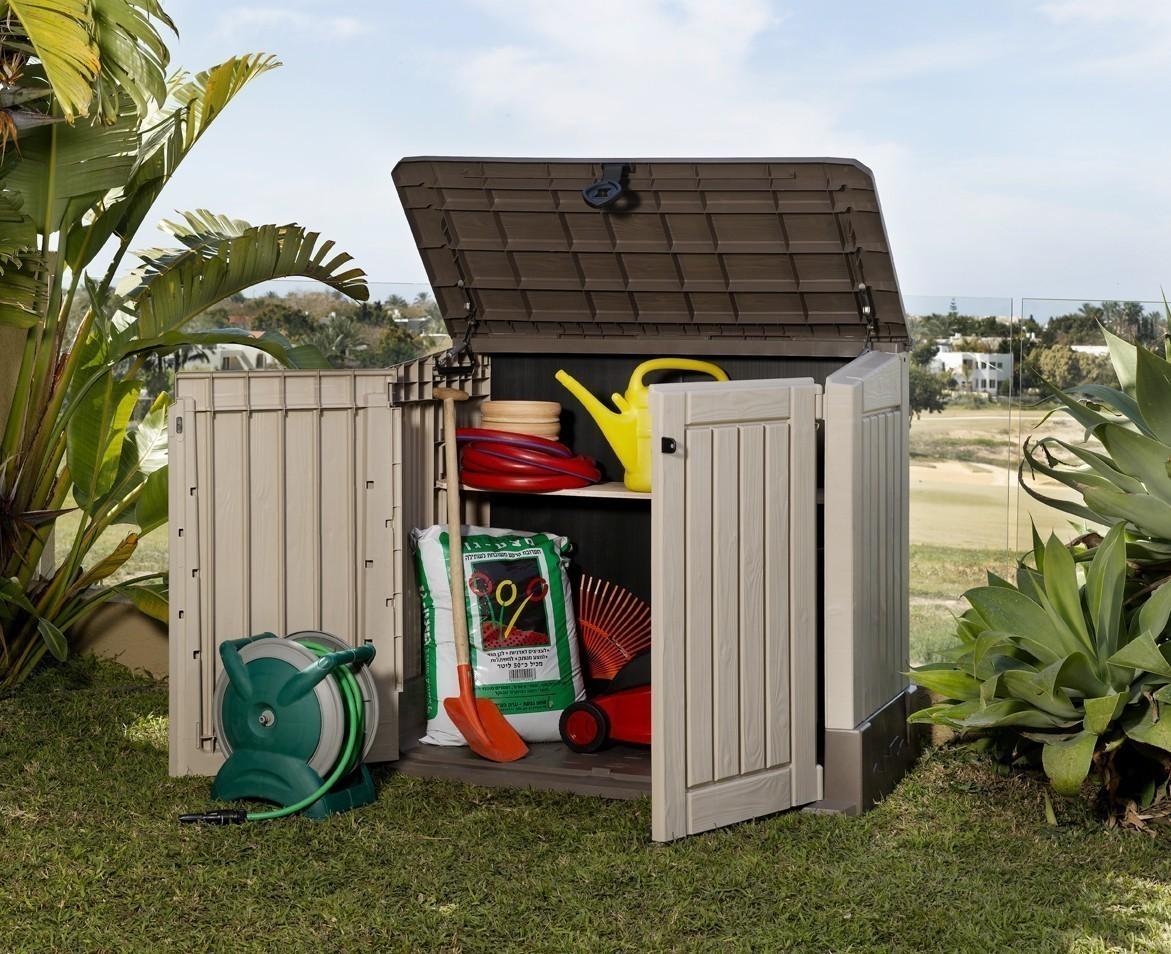 gartenbox aufbewahrungsbox woodland 30 keter 132x74x110 cm beige bei. Black Bedroom Furniture Sets. Home Design Ideas