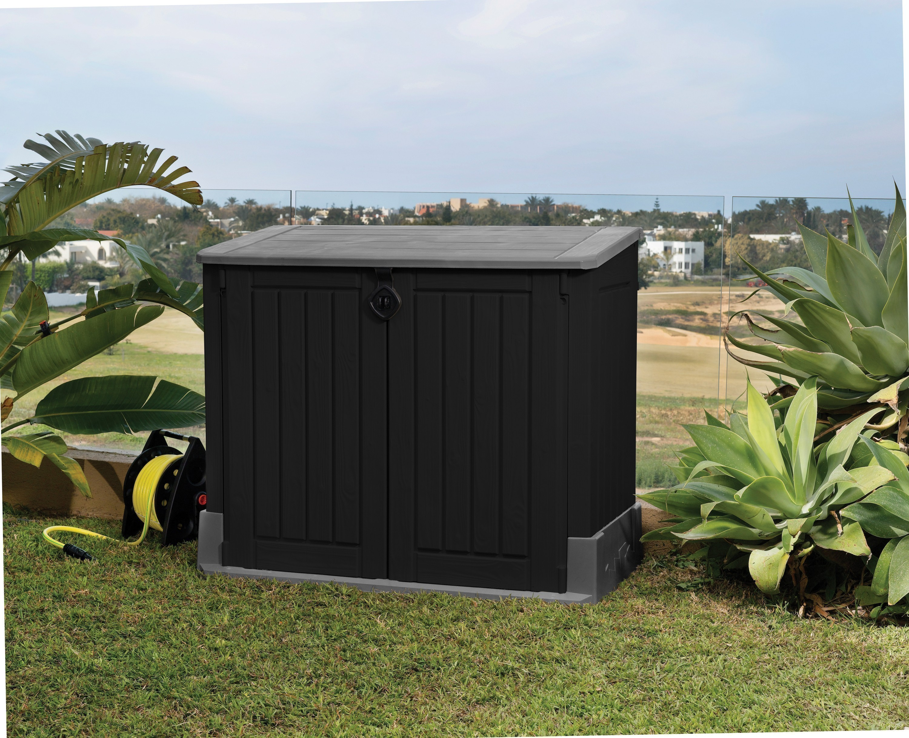 gartenbox aufbewahrungsbox woodland 30 keter 132x74x110 cm schwarz bei. Black Bedroom Furniture Sets. Home Design Ideas