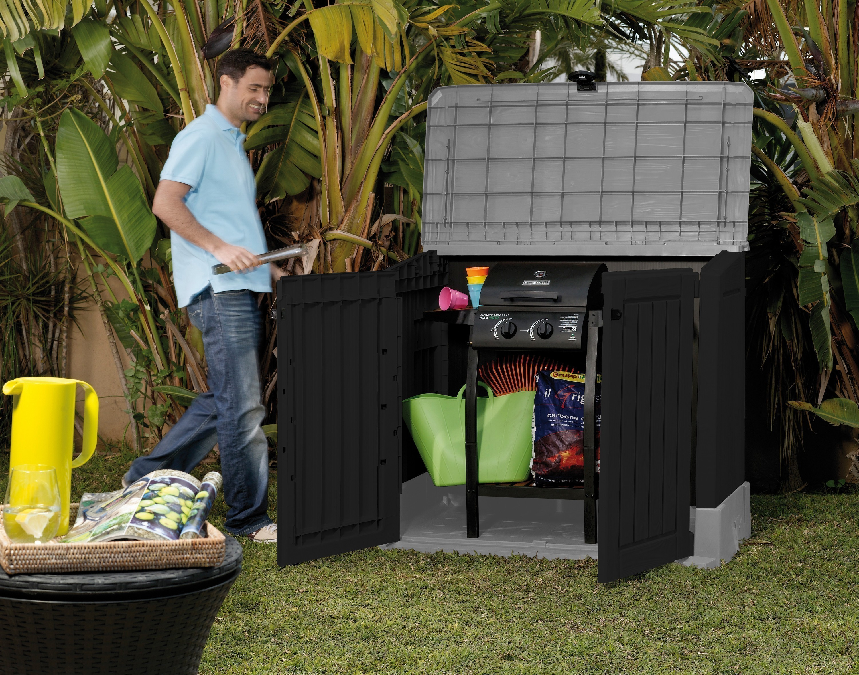 gartenbox aufbewahrungsbox woodland 30 keter 132x74x110. Black Bedroom Furniture Sets. Home Design Ideas