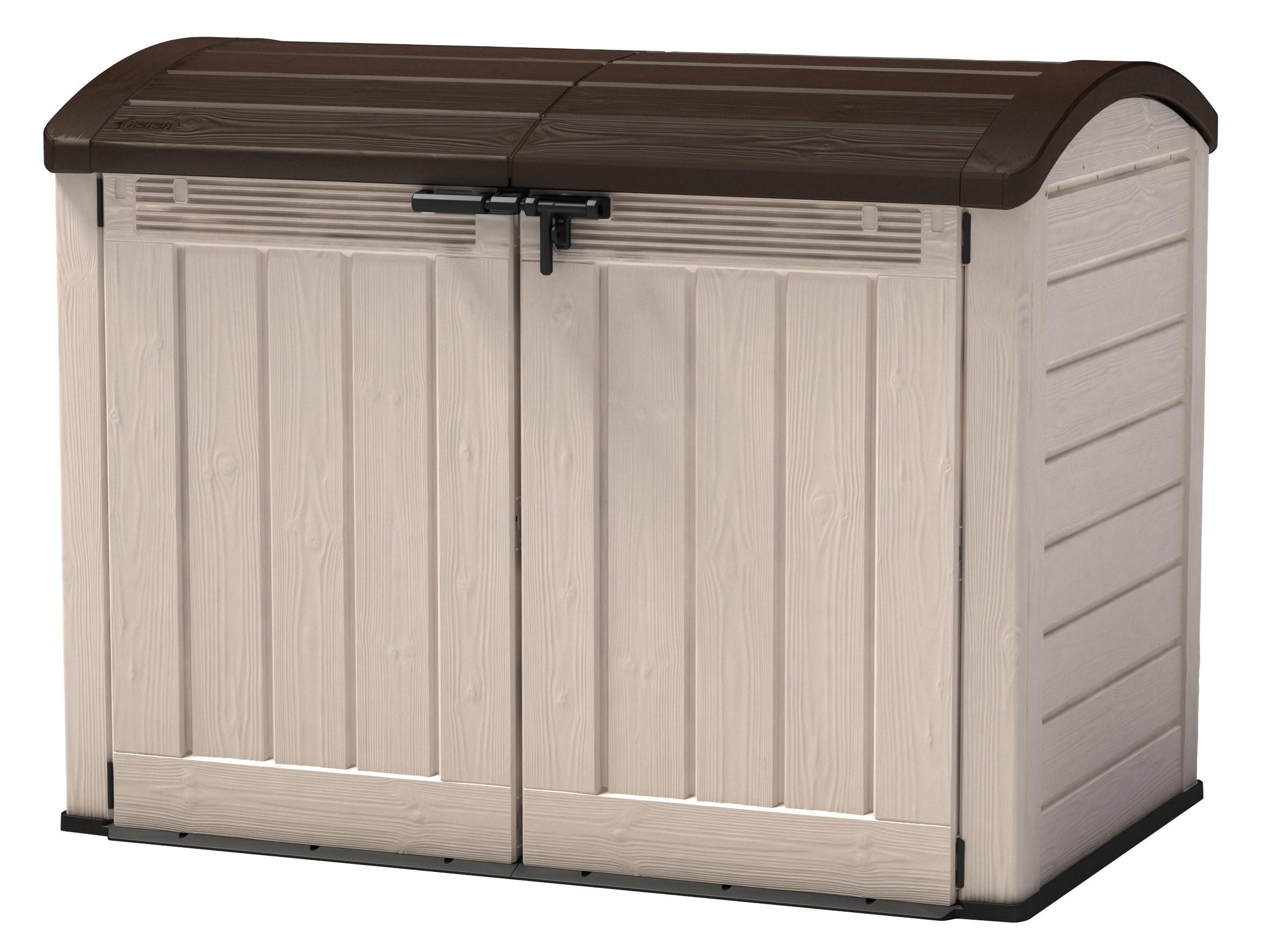 gartenbox aufbewahrungsbox woodland ultra tepro 177x113x134cm beige bei. Black Bedroom Furniture Sets. Home Design Ideas
