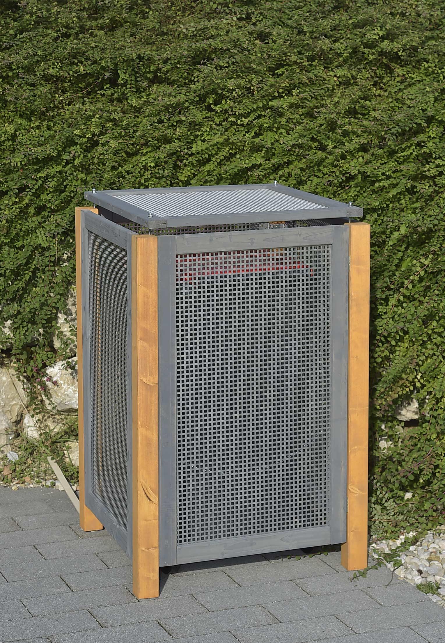 Holz / Alu Mülltonnenbox Kirchdorf für 1x Mülltonnen 240Liter Bild 1