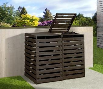 Holz Mülltonnenbox Weka anthrazit für 2 Mülltonnen Bild 1