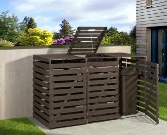 Holz Mülltonnenbox Weka anthrazit für 3 Mülltonnen Bild 1
