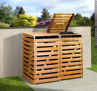 Holz Mülltonnenbox Weka honigbraun für 2 Mülltonnen Bild 1