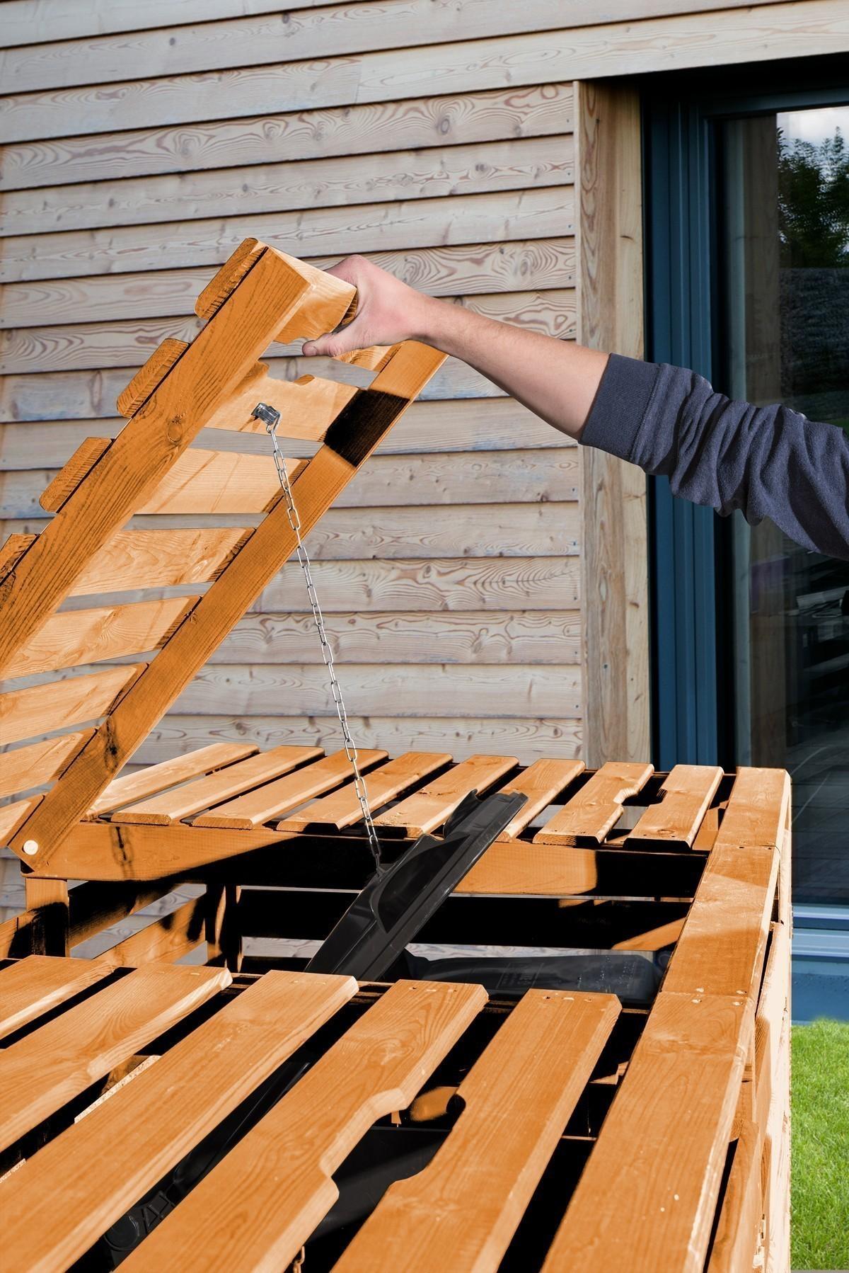 Holz Mülltonnenbox Weka honigbraun für 3 Mülltonnen Bild 2
