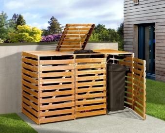 Holz Mülltonnenbox Weka honigbraun für 3 Mülltonnen Bild 1