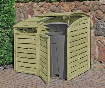 Holz Mülltonnenbox für 2 x Mülltonnen 240 Liter kdi Bild 1