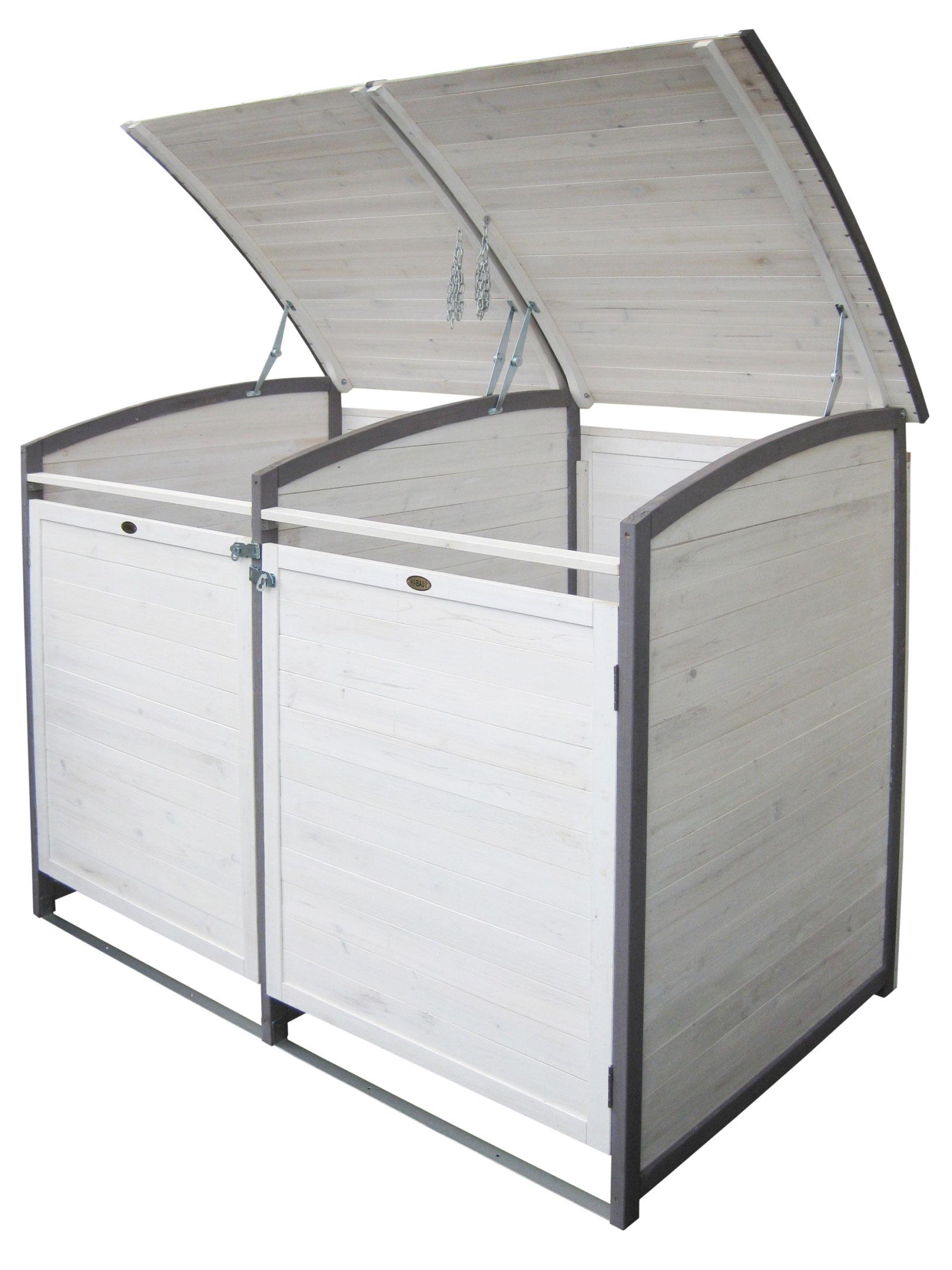 Mülltonnenbox Habau 120 L Doppel weiss / grau Holz ca. 122x76x116cm Bild 2